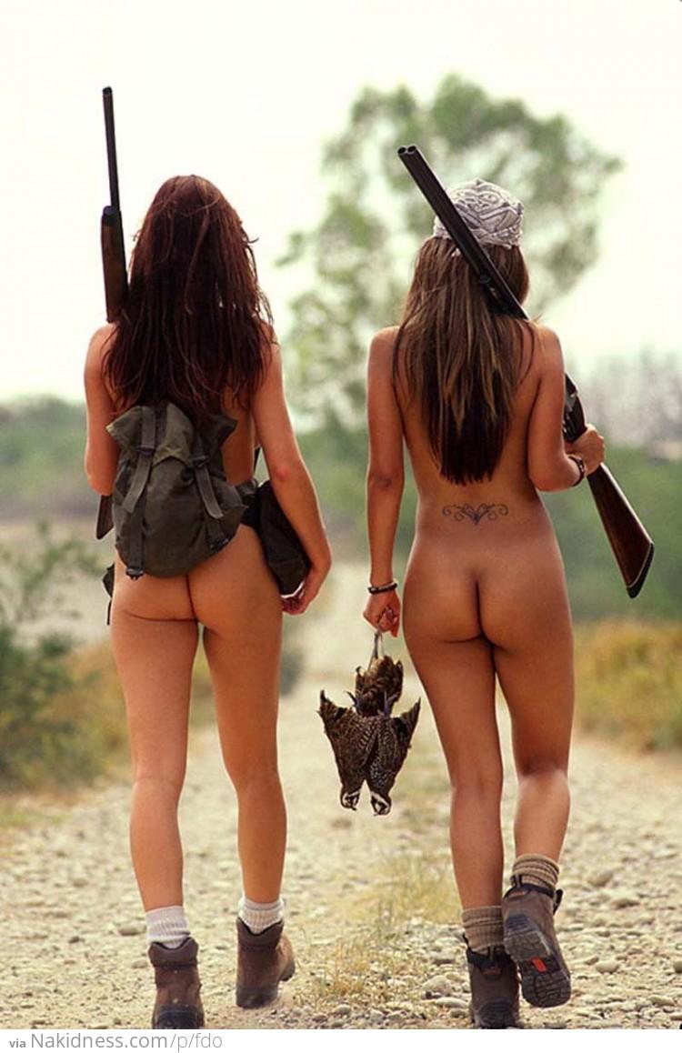 Nude female deer hunter